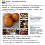 Social media response to Yelp including Langer's in prestigious list