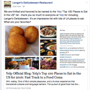 Social media response to Yelp including Langer's in prestigious list