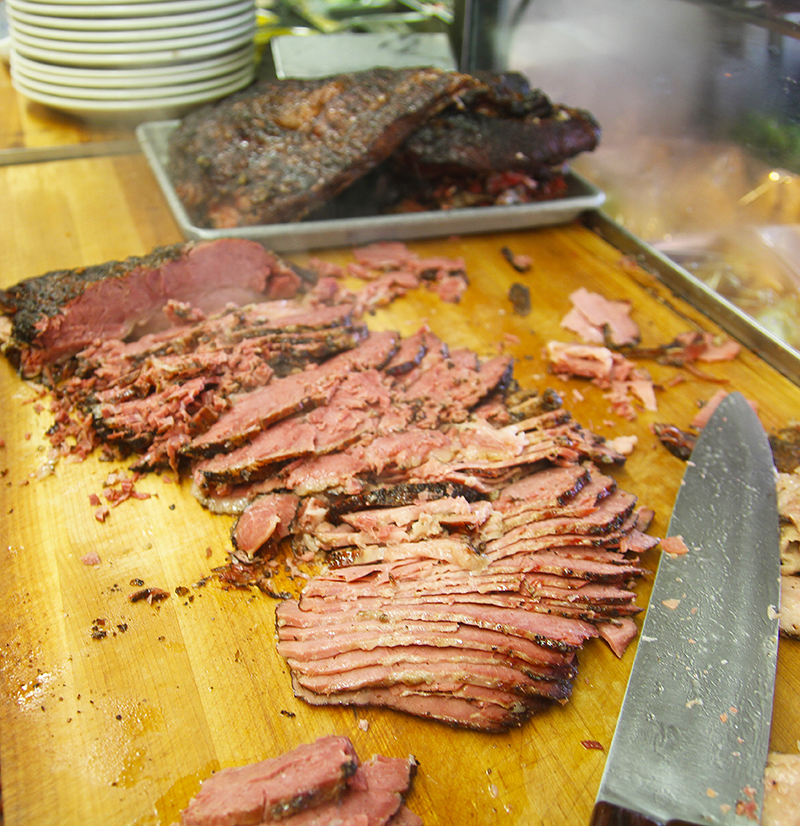pastrami being sliced