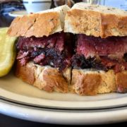 pastrami sandwich on thick toasted bread