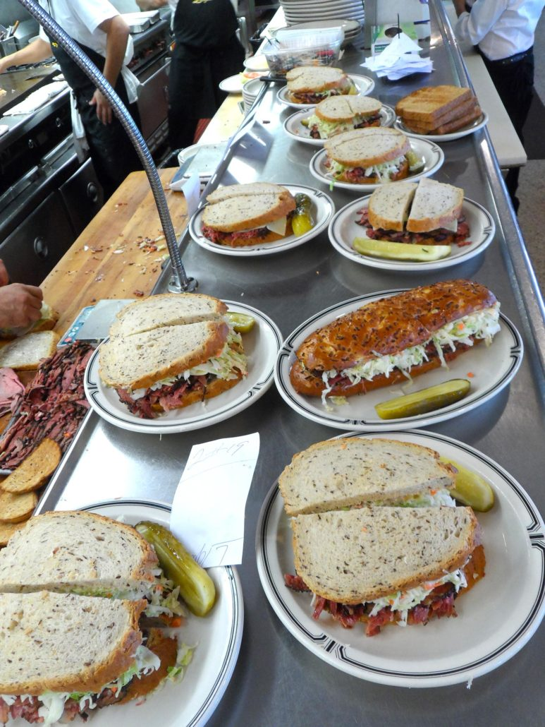 sandwiches on the counter during the lunch rush