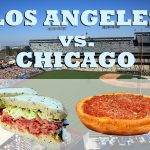 LA vs Chicago illustrated by a sandwich vs a pizza