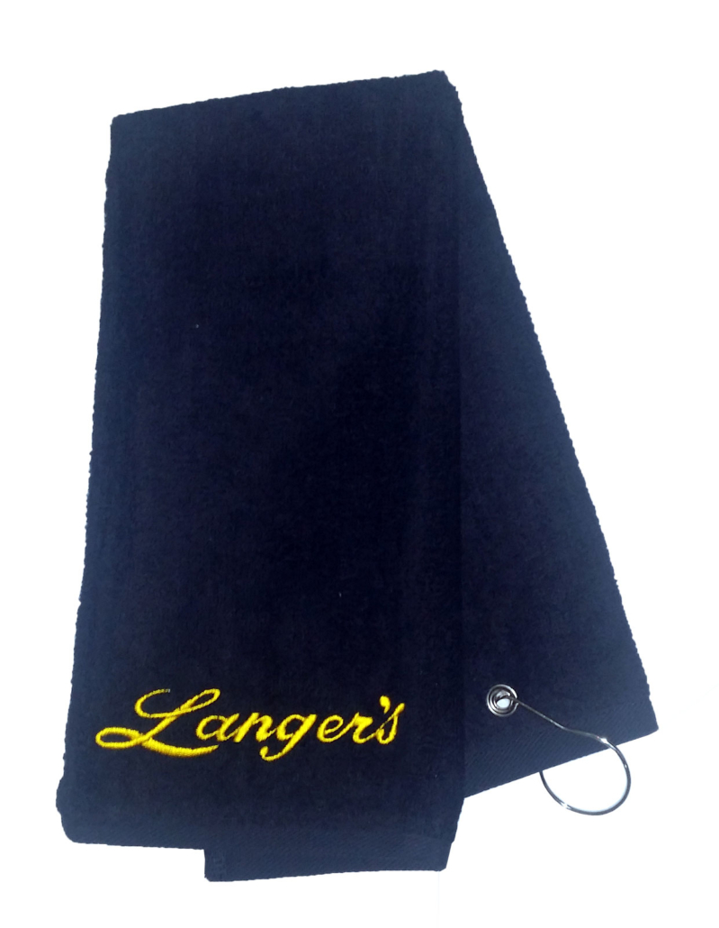 Langer's embroidered golf towel