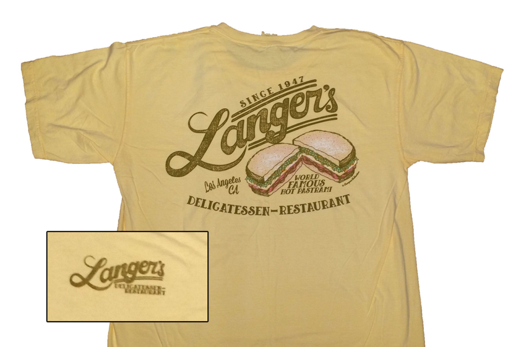 mustard colored Langer's T-shirt