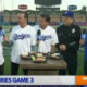 Norm in a LA Dodgers Jersey at Dodger Stadium doing TV interview