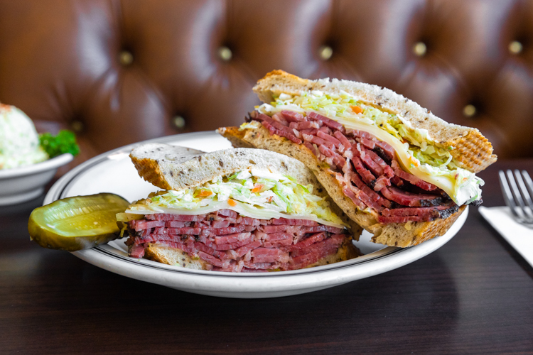 pastrami sandwich on a plate at Langer's Deli