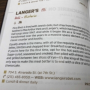 Langer's Deli listing in Michelin guide