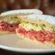 pastrami sandwich on rye bread